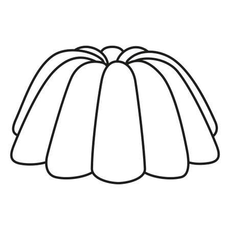 Line art black and white jelly pudding. Coloring page for adults and kids. Sweet food vector illustration for icon, sticker sign, certificate badge, gift card, label, poster, banner, flayer invitation