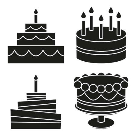 Black and white birthday cake silhouette set. Sweet food vector illustration for icon, sticker sign, patch, certificate badge, gift card, stamp logo, label, poster, web banner, flayer invitation