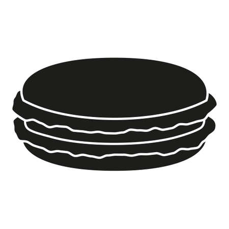 Black and white macaroon silhouette. Sweet food vector illustration for icon, sticker sign, patch, certificate badge, gift card, stamp logo, label, poster, web banner, flayer invitation Stock Illustratie