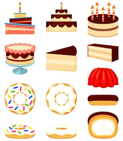 Colorful cartoon 12 dessert icon set. Various treats for coffee shop menu. Comfort food vector illustration for sticker sign, certificate badge, gift card, label, poster, banner, flayer invitation Illustration