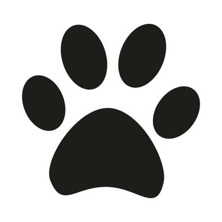 Black and white cat paw footprint silhouette. Hunter tips on wilderness exploring. Pet themed vector illustration for icon, sticker, patch, label, sign, badge, certificate or gift card decoration Ilustração
