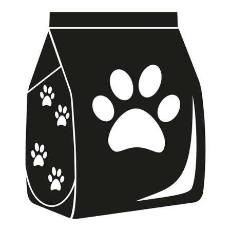 Black and white dry cat food bag silhouette. Simple supply for domestic animal. Pet care themed vector illustration for icon, sticker, patch, label, sign, badge, certificate or gift card decoration Ilustração