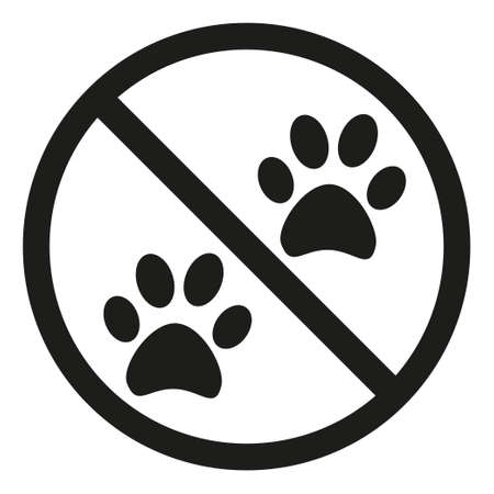 No animals allowed silhouette sign. Store symbol with crossed cat paw. Pet owner warning vector illustration for icon, sticker, patch, label, certificate or gift card decoration