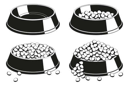 Black and white pet food bowl silhouette set. Various filling state from empty to overfilled. Cat dog care themed vector illustration for icon, sticker, patch, certificate or gift card decoration