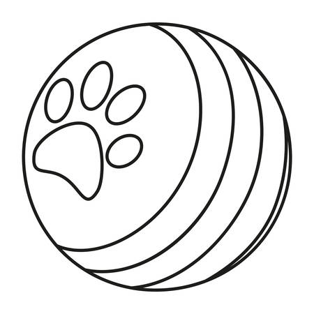 Line art black and white rubber ball with paw print. Simple toy for domestic animal. Pet care themed vector illustration for icon, sticker, patch, label, badge, certificate or gift card decoration Illustration