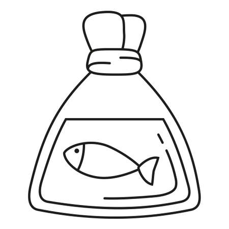 Line art black and white fish in plastic bag. New friend for your aquarium. Pet care themed vector illustration for icon, sticker, patch, label, badge, certificate or gift card decoration Illustration