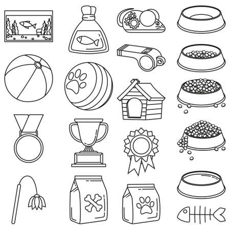 Line art black and white 19 pet shop elements. Domestic animals care vector illustration for icon, sticker, patch, label, badge, certificate or gift card decoration