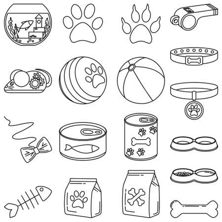 Line art black and white 18 pet shop elements. Domestic animals care vector illustration for icon, sticker, patch, label, badge, certificate or gift card decoration