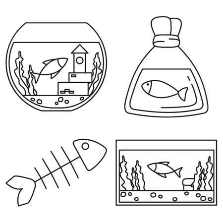 Line art black and white fish elements. Simple supplies for domestic animal. Pet shop themed vector illustration for icon, sticker, patch, label, badge, certificate or gift card decoration Foto de archivo - 103507748