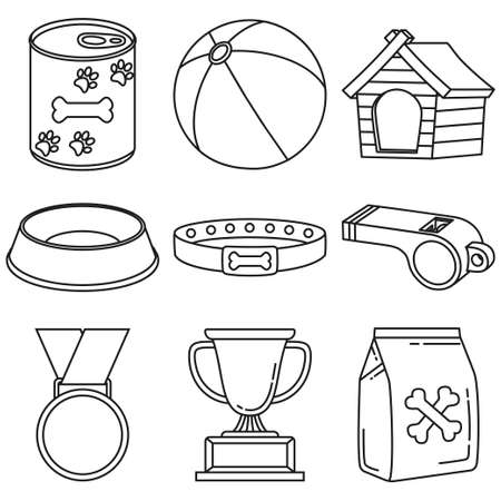 Line art black and white 9 dog care elements. Simple supplies for domestic animal. Pet shop themed vector illustration for icon, sticker, patch, label, badge, certificate or gift card decoration