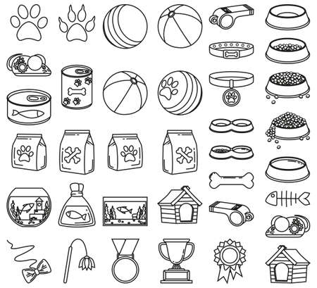 Line art black and white 37 pet shop elements. Domestic animals care vector illustration for icon, sticker, patch, label, badge, certificate or gift card decoration