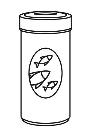 Line art black and white fish food jar. Coloring page for adults and kids. Pet care themed vector illustration for icon, sticker, patch, label, badge, certificate or gift card decoration