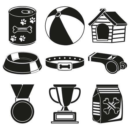 Black and white 9 dog care silhouette elements. Simple supplies for domestic animal. Pet shop themed vector illustration for icon, sticker, patch, label, badge, certificate or gift card decoration