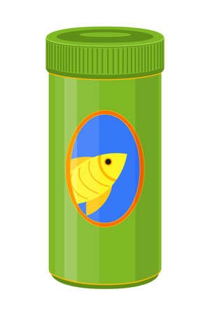 Colorful cartoon fish food jar. Coloring page for adults and kids. Pet care themed vector illustration for icon, sticker, patch, label, badge, certificate or gift card decoration