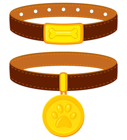 Colorful cartoon pet collar set. Simple supplies for domestic animal. Cat and dog care themed vector illustration for icon, sticker, patch, label, badge, certificate or gift card decoration Фото со стока - 103922408