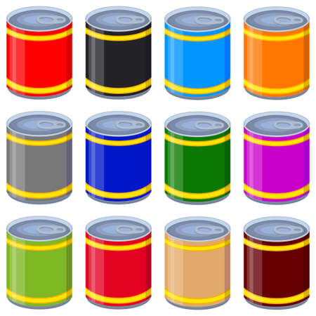 Colorful cartoon tin can mock up set. Seamless pattern vector background. Illustration elements can be used as icon, sticker, patch, label, badge, certificate or gift card decoration Illustration