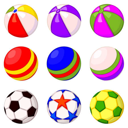 Colorful cartoon rubber ball set. Simple toy for domestic animal. Pet care themed vector illustration for icon, sticker, patch, label, badge, certificate or gift card decoration