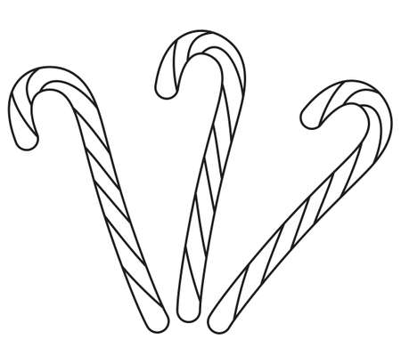 Line art black and white candy cane set. Coloring book page for adults and kids. Xmas themed vector illustration for icon, logo, sticker, patch, label, sign, badge, certificate or gift card decoration