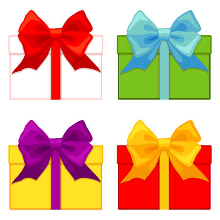 Colorful cartoon gift box set. Present for christmas or birthday. Holiday themed vector illustration for icon, sticker, patch, label, sign, badge, certificate or gift card decoration