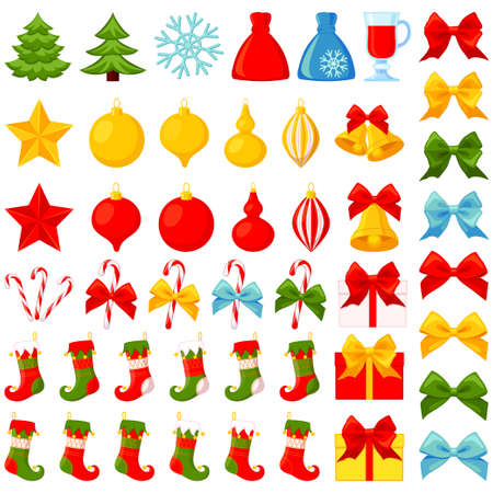 Colorful cartoon 46 christmas elements set. New year holiday decorations. Bright vector illustration for icon, logo, sticker, patch, label, badge, emblem, certificate, poster or gift card pattern