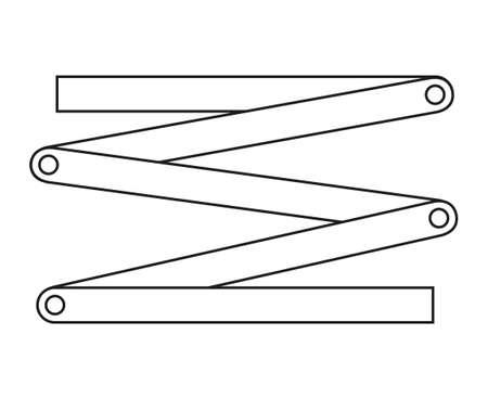 Line Art Schwarz-Weiß-Faltlineal. Heimwerkerwerkzeuge für die Reparatur zu Hause. Bauthematische Vektorgrafik für Symbol, Logo, Aufkleber, Patch, Etikett, Schild, Abzeichen, Zertifikat oder Flayer-Dekoration