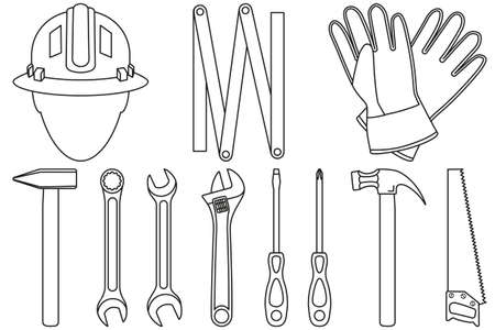 Line art black and white 11 handyman tools set. Simple toolkit for home repair. Construction themed vector illustration for icon, logo, sticker, patch, label, sign, badge, certificate or flayer decoration Stok Fotoğraf