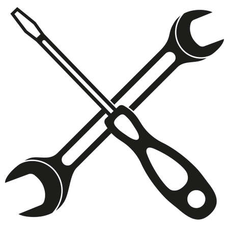 Black and white screwdriver wrench cross silhouette. Handyman tools for home repair. Maintenance themed vector illustration for icon, logo, sticker, label, sign badge, certificate or flayer decoration