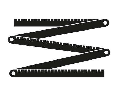 黒と白の折りたたみ定規シルエット。自宅修理のための便利屋のツール。アイコン、ロゴ、ステッカー、パッチ、ラベル、記号、バッジ、証明書またはフレイヤー装飾のための構築テーマのベクトルイラスト