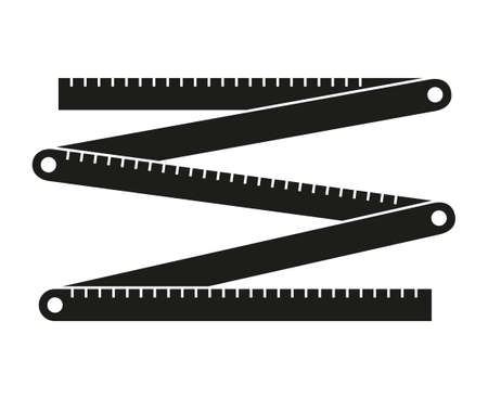 Black and white folding ruler silhouette. Handyman tools for home repair. Construction themed vector illustration for icon, logo, sticker, patch, label, sign, badge, certificate or flayer decoration Иллюстрация
