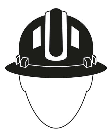 Black white construction worker avatar silhouette. Human head in protective helmet. Work safety themed vector illustration for icon, sticker, patch, label, badge, certificate or flayer decoration Çizim