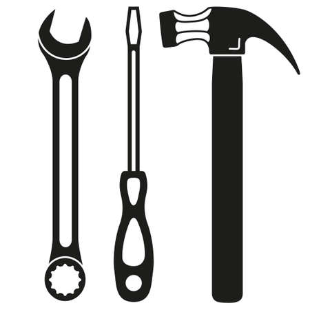 Black and white toolkit silhouette set. Handyman simple tool for home repair. Construction themed vector illustration for icon, logo, sticker, patch, label, badge, certificate or flayer decoration