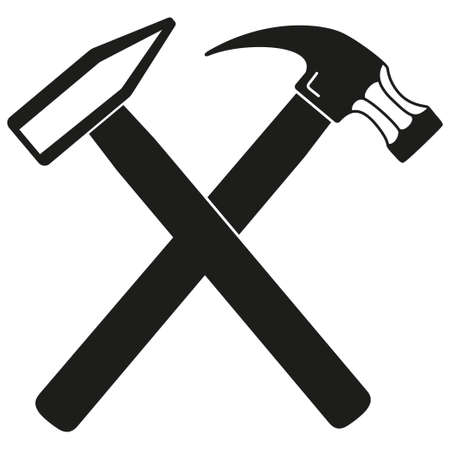 Black and white tow crossed hammers silhouette. Handymans tool for home repair. Construction themed vector illustration for icon, sticker, patch, label, badge, certificate or flayer decoration Illustration