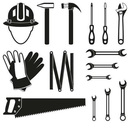 Black and white 15 handyman tools silhouette set. Simple toolkit for home repair. Construction themed vector illustration for icon, sticker, patch, label, sign, badge, certificate or flayer decoration Vettoriali