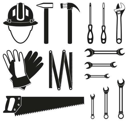 Conjunto de silueta de 15 herramientas de manitas en blanco y negro. Juego de herramientas simple para reparaciones en el hogar. Ilustración de vector temático de construcción para decoración de icono, adhesivo, parche, etiqueta, letrero, insignia, certificado o flayer Ilustración de vector