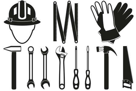 Black and white 11 handyman tools silhouette set. Simple toolkit for home repair. Construction themed vector illustration for icon, sticker, patch, label, sign, badge, certificate or flayer decoration