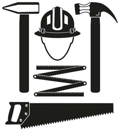 Black and white 5 handyman tools silhouette set. Simple toolkit for home repair. Construction themed vector illustration for icon, sticker, patch, label, sign, badge, certificate or flayer decoration Çizim