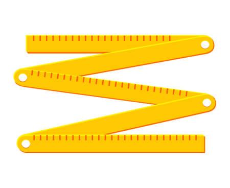 Buntes Cartoon-Faltlineal. Heimwerkerwerkzeuge für die Reparatur zu Hause. Bauthematische Vektorgrafik für Symbol, Logo, Aufkleber, Aufnäher, Etikett, Schild, Abzeichen, Zertifikat oder Flayer-Dekoration