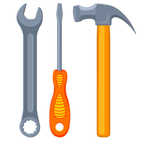 Colorful cartoon toolkit set. Handyman simple tool for home repair. Construction themed vector illustration for icon, logo, sticker, patch, label, badge, certificate or flayer decoration
