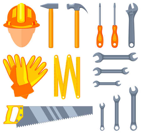 Colorful cartoon 15 handyman tools set. Simple toolkit for home repair. Construction themed vector illustration for icon, sticker, patch, label, sign, badge, certificate or flayer decoration
