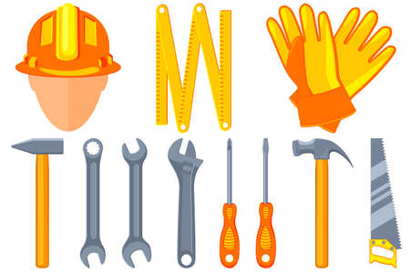 Colorful cartoon 11 handyman tools set. Simple toolkit for home repair. Construction themed vector illustration for icon, sticker, patch, label, sign, badge, certificate or flayer decoration Çizim