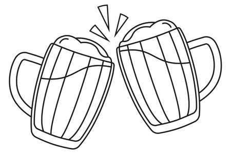 Line art black and white two beer mug. Coloring book page for adults and kids. Oktoberfest festival themed vector illustration for icon, sticker, patch, label, badge, certificate or banner decoration