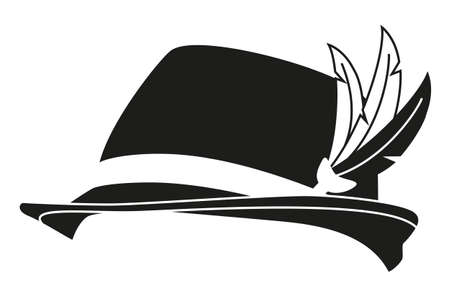 Black and white german feather hat silhouette. Historical costume party prop. Oktoberfest festival themed vector illustration for icon, sticker, label, badge, certificate or ad banner decoration Illustration