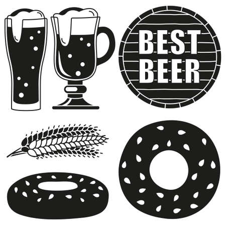 Black and white oktoberfest 6 elements silhouette set. Best beer festival collection. Autumn festive vector illustration for icon, sticker, patch, label, badge, sign, certificate or banner decoration