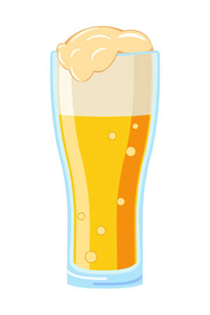 Colorful cartoon beer glass. Refreshing drink for birthday party. Oktoberfest festival themed vector illustration for icon, sticker, label, badge, emblem, certificate, leaflet or ad banner decoration Ilustração