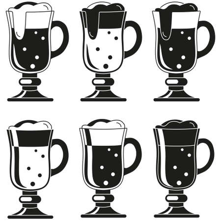 Black and white fancy beer glass silhouette set. Refreshing drinks for birthday party. Oktoberfest themed vector illustration for icon, sticker, patch, label, badge, certificate or banner decoration