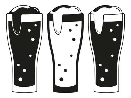 Black and white 3 beer glasses silhouette set. Refreshing drinks for birthday party. Oktoberfest themed vector illustration for icon, sticker, patch, label, badge, certificate or ad banner decoration