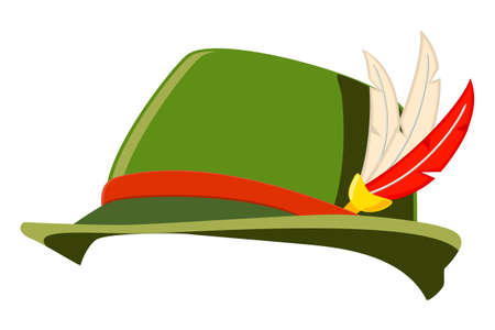 Kapelusz niemiecki pióro kolorowy kreskówka. Historyczny rekwizyt na imprezę kostiumową. Ilustracja wektorowa o tematyce festiwalu Oktoberfest dla ikony, logo, naklejki, etykiety, odznaki, certyfikatu, ulotki lub dekoracji banera