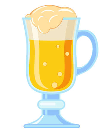 Colorful cartoon fancy light beer glass. Refreshing drink for birthday party. Oktoberfest themed vector illustration for icon, sticker, patch, label, badge, certificate or ad banner decoration