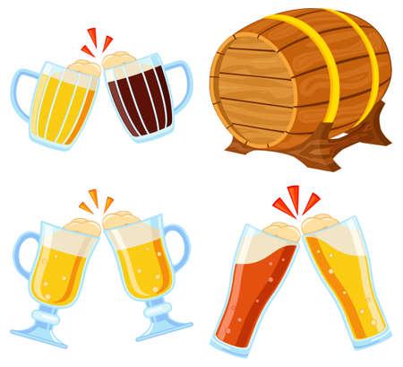 Colorful cartoon draft beer set. Oktoberfest elements collection. Autumn festival vector illustration for icon, sticker, patch, emblem, sign, label, badge, certificate or banner decoration