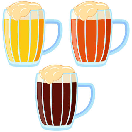 Kleurrijke cartoon verschillende bier type mok. Verfrissend drankje voor verjaardagsfeestje. Oktoberfest festival thema vectorillustratie voor pictogram, sticker, etiket, kenteken, embleem, certificaat, bannerdecoratie Vector Illustratie